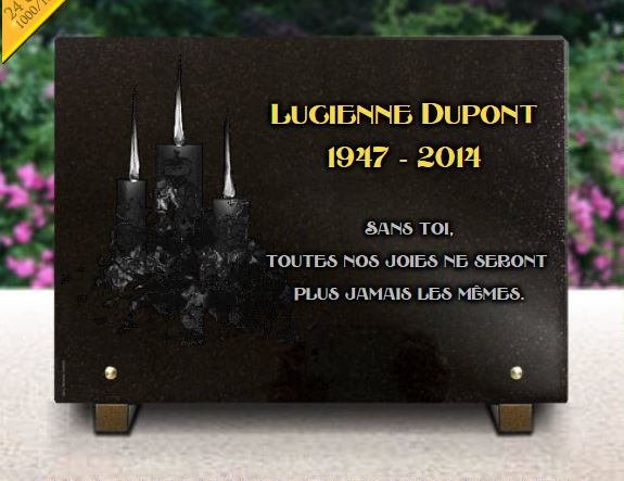 Plaque funérairedessin bougies et texte funéraire doré.