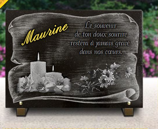 Plaque funéraire avec bougies, fleurs sur fond parchemin et or 24 carats.