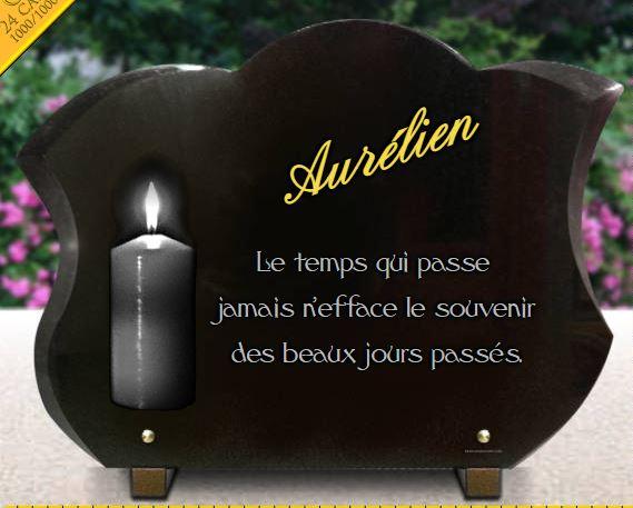 Plaque funéraire bougies en granit forme tulipe avec dorure 24 carats.