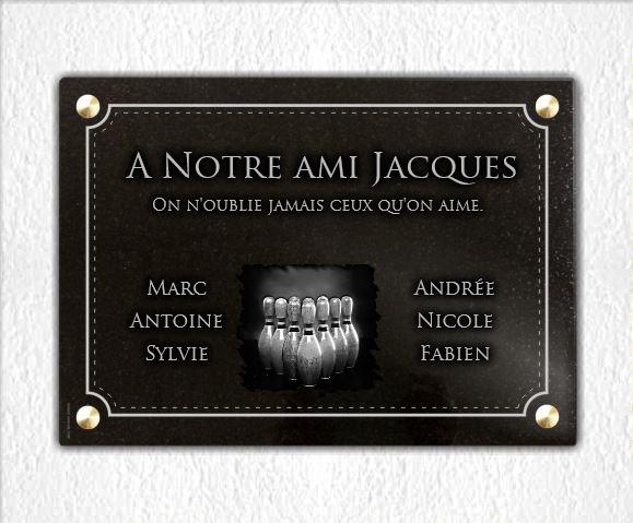 Plaque funéraire granit  Quilles de bowling bordure décorative. 25 x 35 cm.