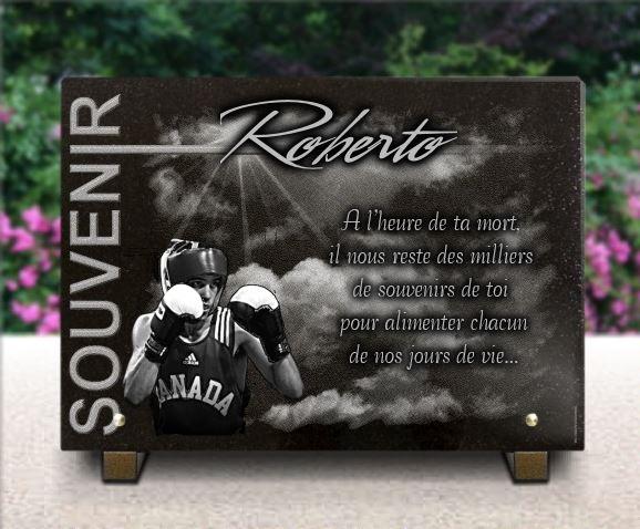 Plaque funéraire granit  Sport de combat gants boxe thai boxeur ciel nuage rayons soleil collection souvenir. 25 x 35 cm.