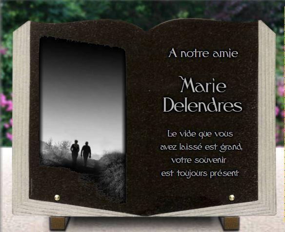Plaque funéraire granit plaque funéraire livre ouvert gravé galbé campagne paysage silhouettes personnes marcheurs. 30 x 40 cm.