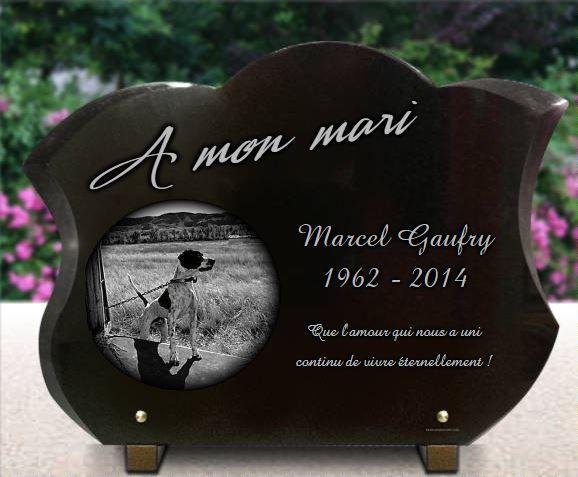 Plaque funéraire granit  chien campagne plaque forme tulipe.  x  cm.