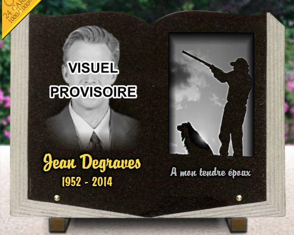 Plaque funéraire granit  portrait photo gravée chien chasseur fusil contre jour plaque livre ouvert dorure. 30 x 40 cm.