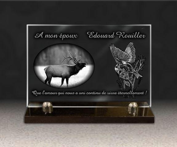 Plaque funéraire verre  cerf chasse mésange sur branche nature. 20 x 30 cm.