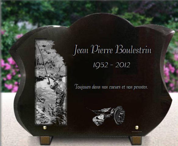 Plaque funéraire granit peche rose riviere rivière tulipe. 30 x 40 cm.