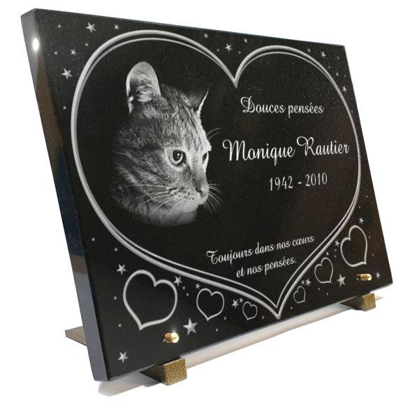 Plaque funéraire personnalisable avec un chat
