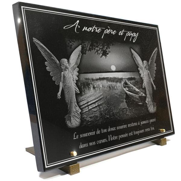 Plaque funéraire granit  barque pêcheur coucher couché de soleil lac mer rivière paysage. 30 x 40 cm.