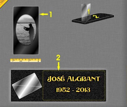 Plaque funéraire verre bloc cube verre gravé. 17 x 30 cm.