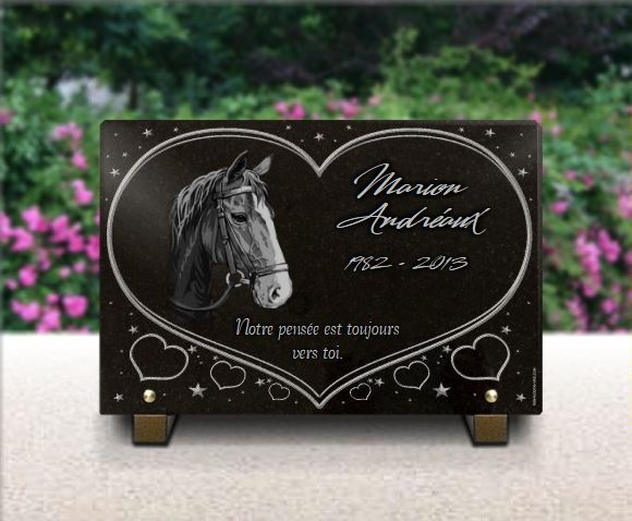 Plaque funéraire granit étoiles coeurs cheval . 20 x 30 cm.