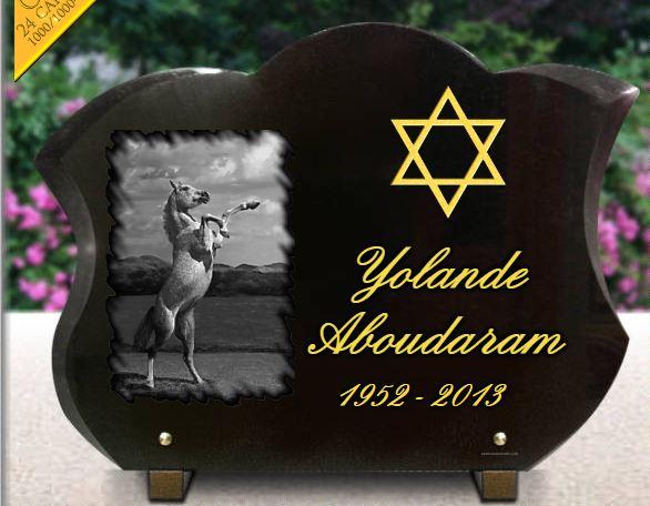 Plaque funéraire granit croix étoile juive dorure plaque forme tulipe. 30 x 40 cm.