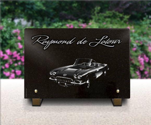 Plaque funéraire granit  voiture de collection américaine. 20 x 30 cm.