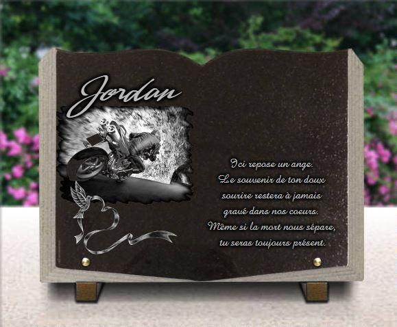 Plaque funéraire granit photo porcelaine colombe livre. 25 x 35 cm.