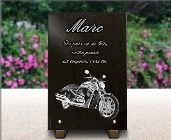 plaque fun raire motard personnaliser avec moto de style harley davidson. Black Bedroom Furniture Sets. Home Design Ideas