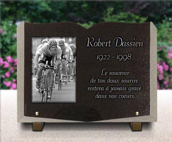 plaque mortuaire personnalis e courses cyclistes forme livre plaque granit grav. Black Bedroom Furniture Sets. Home Design Ideas