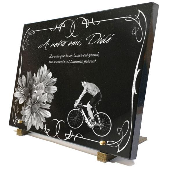Plaque mortuaire v lo cycliste avec fleurs marguerittes et bord d co - Plaque funeraire originale ...