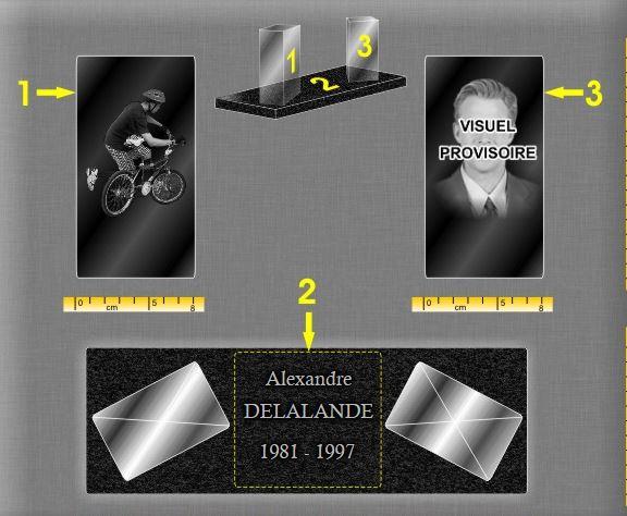 Plaque funéraire verre bloc cube de verre socle base granit . 17 x 30 cm.