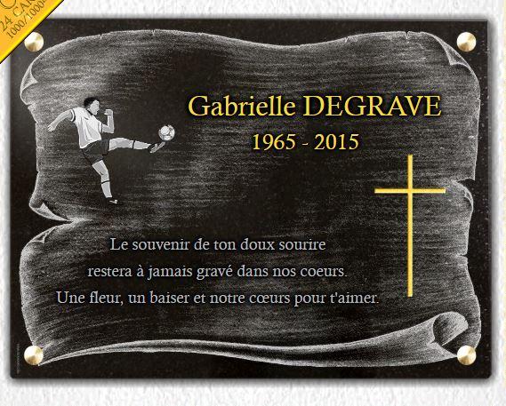Plaque funéraire granit dorure croix religieuse chirst . 30 x 40 cm.