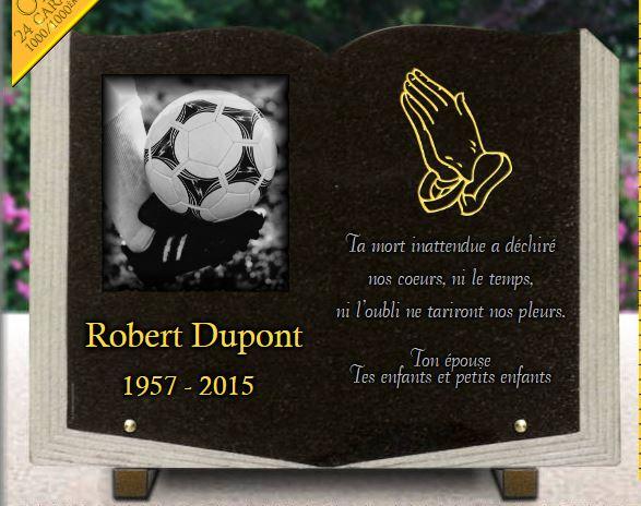 Plaque funéraire granit prière mains jointes ballon de foot plaque forme livre . 30 x 40 cm.