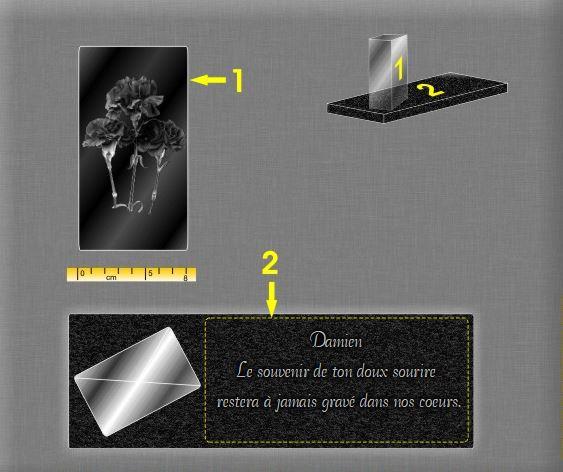 Plaque funéraire verre moderne blocs de verre sur base granit .  x  cm.