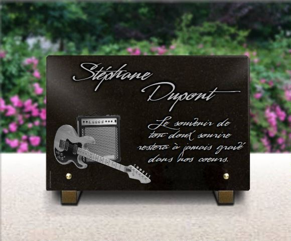Plaque funéraire granit guitare électrique electrique ampli rock fender peavey stagg. 20 x 30 cm.
