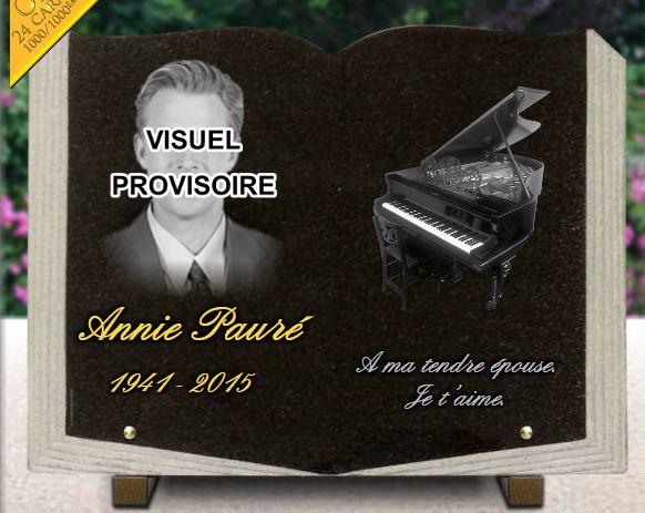 Plaque funéraire granit piano à queue dorure portrait artistique pianistes. 30 x 40 cm.