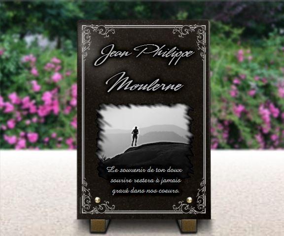 Plaque funéraire granit  jogging course à pieds footing bordure décorative marathon marche paysage campagne. 30 x 20 cm.