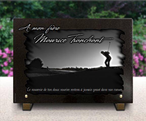 Plaque funéraire granit  golf paysage campagne golfeur. 25 x 35 cm.