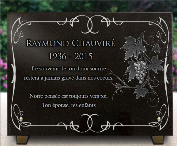 Plaque funéraire granit branche vigneron raison grappe feuille arabesques . 30 x 40 cm.