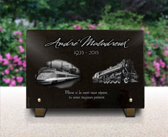 Plaque funéraire granit TGV locomotive conducteur de train cheminot . 20 x 30 cm.