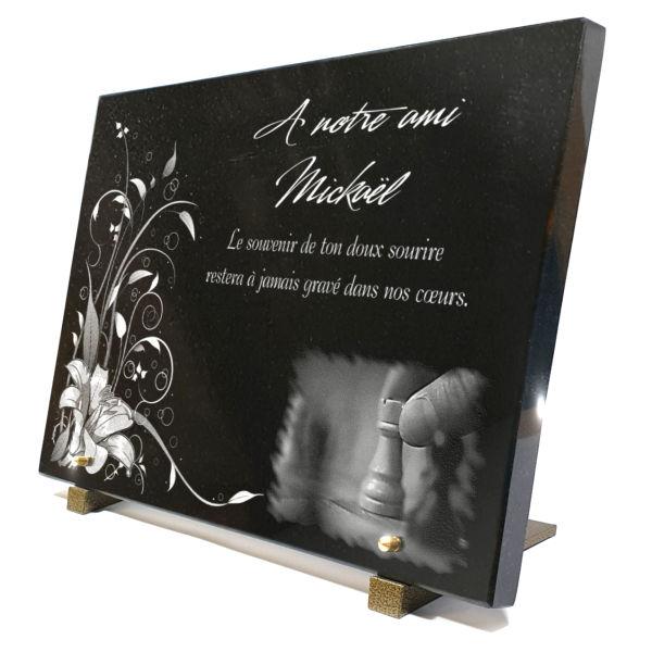 Plaque funéraire granit jeux d'échecs echec moderne sports. 30 x 40 cm.