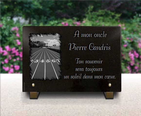 Plaque funéraire granit Sport course à pieds piste  coureur athlétisme athète. 20 x 30 cm.