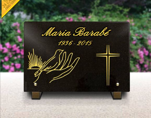 Plaque funéraire granit soleil colombe main croix dorure . 20 x 30 cm.