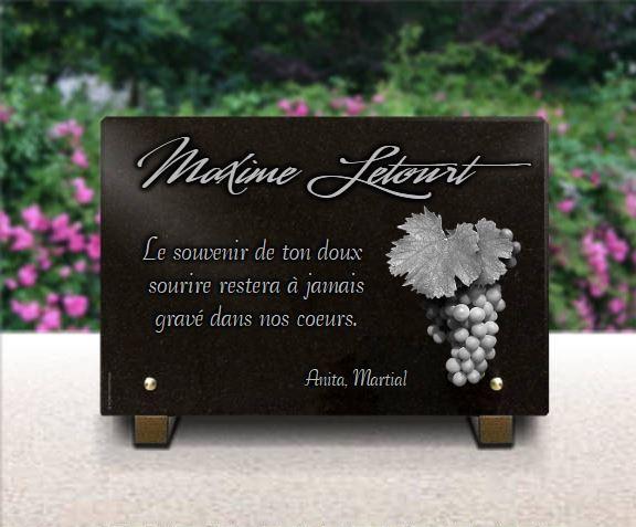 Plaque funéraire granit vigne raisin nature vin vigneron . 20 x 30 cm.