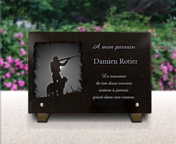 Plaque funéraire granit Casseur chien fusil nature soleil . 20 x 30 cm.