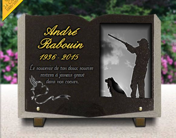 plaque fun raire livre granit avec chasseur chien coeur et dorure. Black Bedroom Furniture Sets. Home Design Ideas