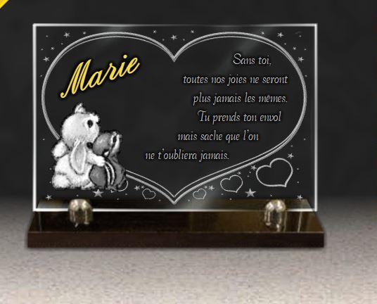 Plaque funéraire verre dorure coeur lapin étoiles bébé bebe . 20 x 30 cm.