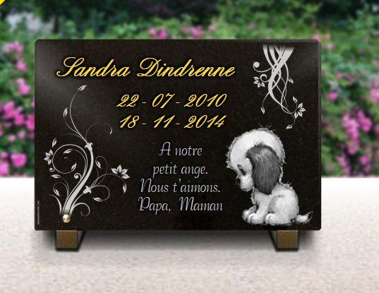 Plaque funéraire granit jouet chien peluche bébé enfant nounours dorure. 20 x 30 cm.