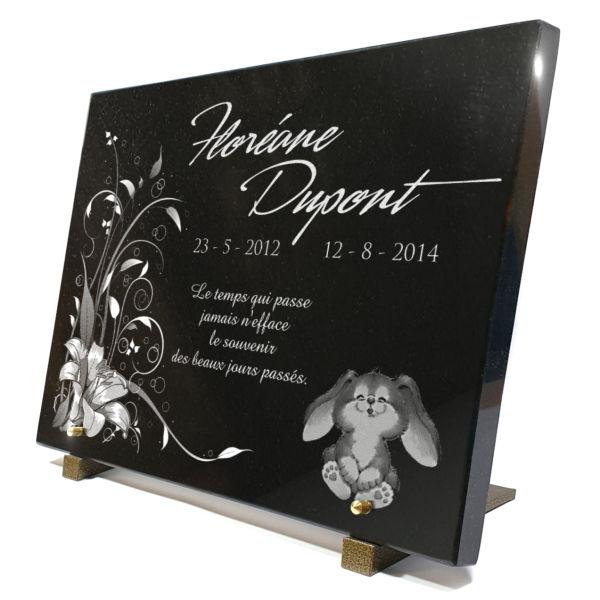 Plaque funéraire granit lapin nounours jouet peluche enfant bébé iris . 30 x 40 cm.