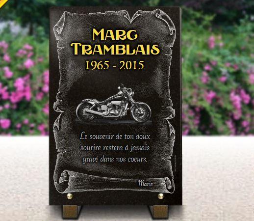 Plaque funéraire granit dorure harley davidson bike . 30 x 20 cm.