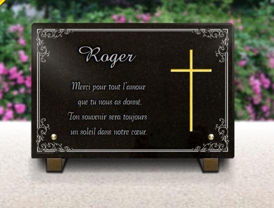 Plaque funéraire granit bordure décorative . 20 x 30 cm.