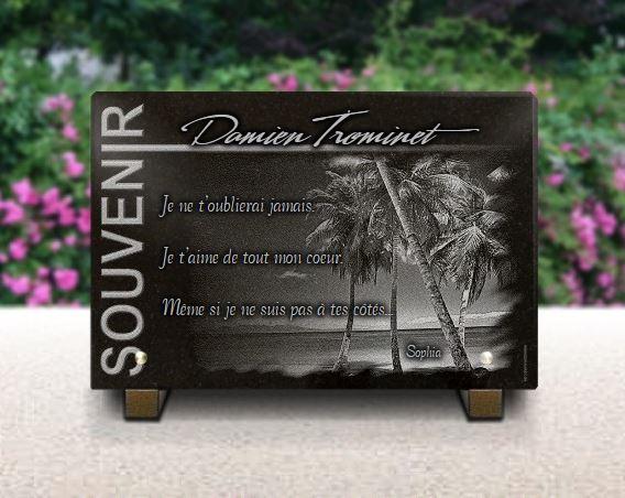 Plaque funéraire granit  palmier cocotier plage soleil île collection souvenir tahiti dom tom paysage tropiques. 20 x 30 cm.