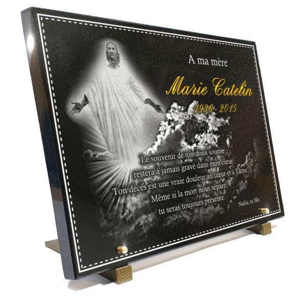 Plaque funéraire granit  jésus nuages rayons soleil dieu ange religion catholique. 30 x 40 cm.