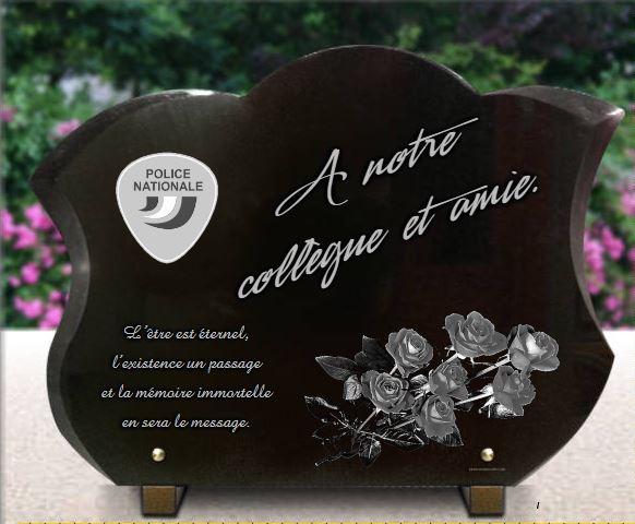 Plaque funeraire en granit pour policier