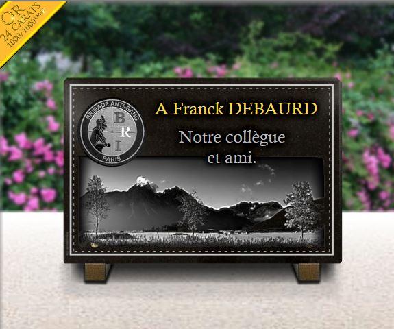 Plaque funéraire granit Police Brigade anti gang Paris dorure bordure. 20 x 30 cm.