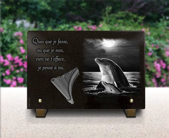 Funeral plaque with dolphins