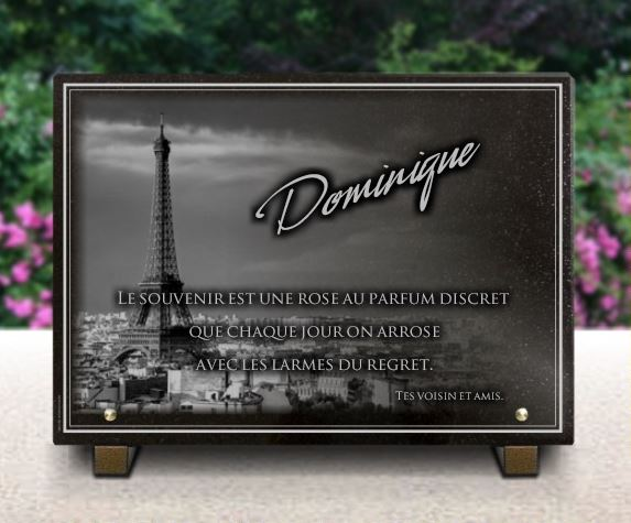 plaque fun raire paris a personnaliser avec la tour eiffel grav e sur granit. Black Bedroom Furniture Sets. Home Design Ideas