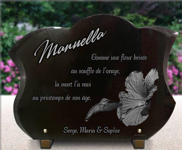 Plaque funéraire granit  . 30 x 40 cm.
