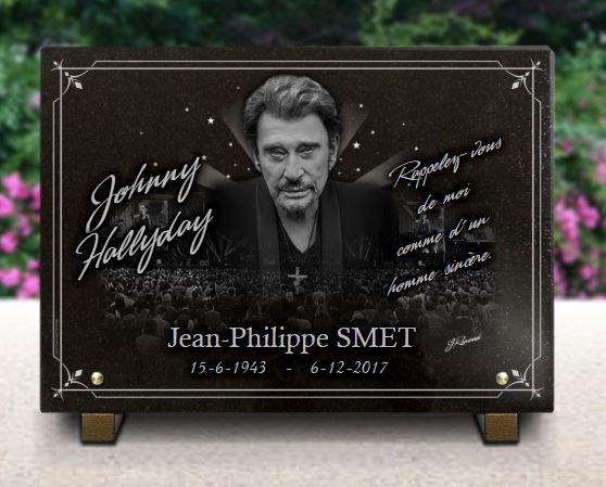 Plaque funéraire granit  . 25 x 35 cm. Plaque funéraire en hommage à Johnny Hallyday