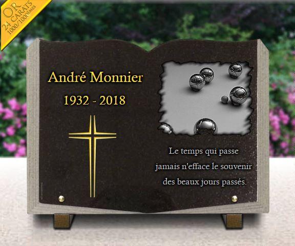 Plaque funéraire granit  . 25 x 35 cm. Plaque livre en granit avec croix dorée et motif pétanque bouliste